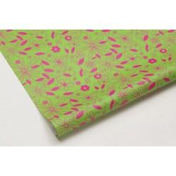 Obrus papierowy FLOWER zielony/różowy 120x700 cm