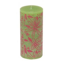 Świeca rustykalna FLOWER  zielony/różowy  70/150mm