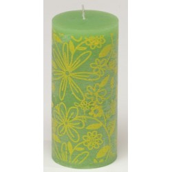 Świeca rustykalna FLOWER  zielony/żółty  70/150mm