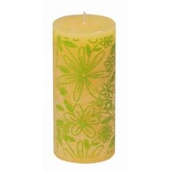Świeca rustykalna FLOWER  żółty/zielony  70/150mm