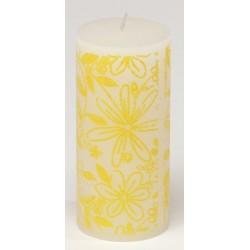Świeca rustykalna FLOWER  biały/żółty  70/150mm