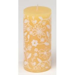 Świeca rustykalna FLOWER  pomarańczowy/biały  70/150mm