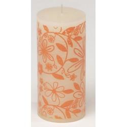 Świeca rustykalna FLOWER  biały/pomarańczowy  70/150mm
