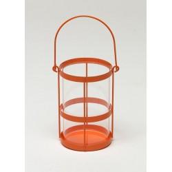 Lampion metal/szkło d11 h17cm pomarańczowy