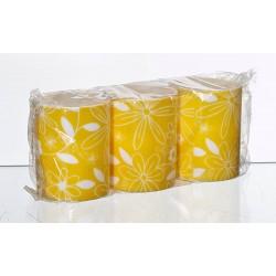 Świeca FLOWER  żółty/biały  3szt.