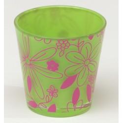 Stożkowa szklanka FLOWER d7,5 h7,5cm  zielony/różowy