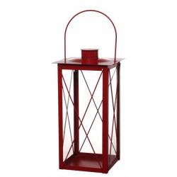 Metalowa latarnia 19x19 h 40 cm czerwona