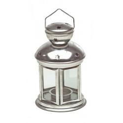 Metalowa latarnia sześciokątna srebrna