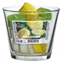 12szt. podgrzewacze zapachowe CITRONELLA w transp. kubkach w szklanej wazie