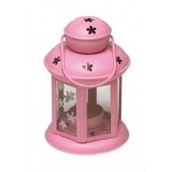 latarnia metalowa FLOWER FLY 10x10x15cm różowa