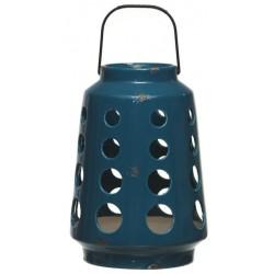 Latarnia ceramiczna DOTS 18.5x26cm niebieska