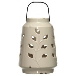 Latarnia ceramiczna LEAVES 18.5x26cm kremowy