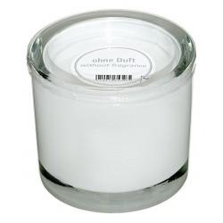 Świeczka w szklanym cylindrze Heavy d9 h8 cm biały
