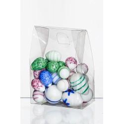 Szklane jajko opakowanie 7x4 h10cm mieszane kolory