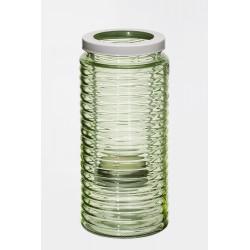Szklany lampion  zieleń d11 h23cm+metalowy stojak na świecę d6cm
