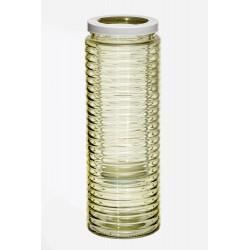 Świecznik szklany żółty d11 h30cm/met. świecznik d6cm