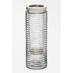 Świecznik szklany bezbarwny  d11 h30cm /met. świecznik d6cm
