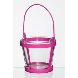 Met. świecznik ze szklaną wazą d10 h9cm różowy