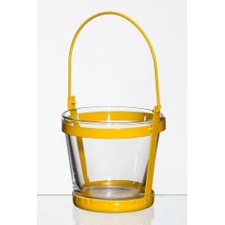 Met. świecznik ze szklaną wazą d10 h9cm żółty