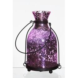 Lampion latarnia d11 h18,5cm rustik różowy lustrzany