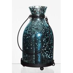 Lampion latarnia d11 h18,5cm rustik niebieski lustrzany