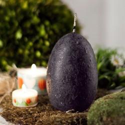 świeca jajo ręcznie zdobiona 120x75mm czarna M