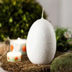 """Świeca jajo ręcznie zdobiona """"Biała"""" 120x75mm"""