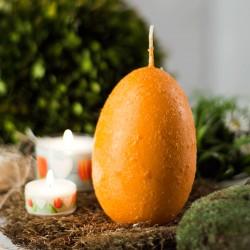 """Świeca jajo ręcznie zdobiona """"Pomarańczowa"""" 120x75mm"""