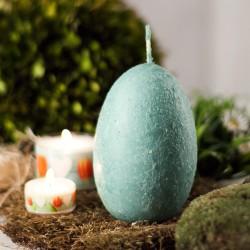 """Świeca jajo ręcznie zdobiona """"Miętowy"""" 120x75mm"""