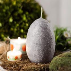 """Świeca jajo ręcznie zdobiona """"Szare"""" 120x75mm"""