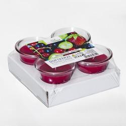 Zestaw 4 świec zapachowych w plastikowym kubku 60x50mm OWOCE LASU