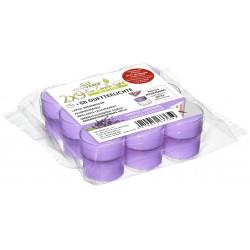 Opakowanie 18 zapachowych podgrzewaczy ECL (9x wkład + 9x w transparentnym kubku) (6h)  WANILIA-LAWENDA