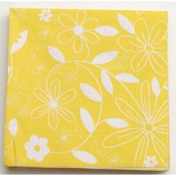 Serwetki 33x33cm FLOWER żółty/biały 20SZT.