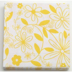 Serwetki 33x33cm FLOWER biały/żółty 20SZT.