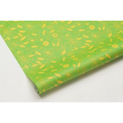 Obrus papierowy FLOWER zielony/żółty 120x700 cm
