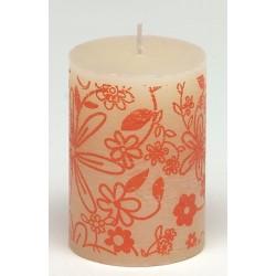 Świeca rustykalna FLOWER biały/pomarańczowy  70/100mm