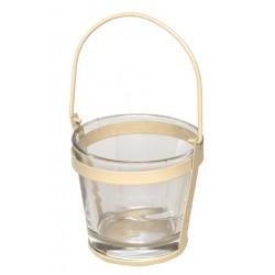 Met. uchwyt z wazą szklaną d10 h9cm  beżowy