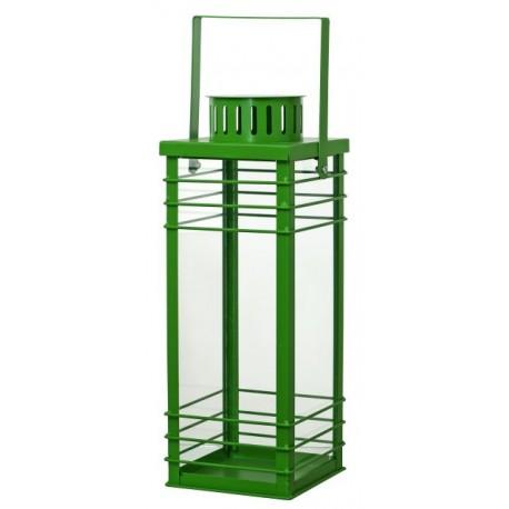 Latarnia metalowa  STRIPES 14x14 h38cm zielony