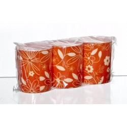 Świeca FLOWER pomarańczowy/biały  3szt.