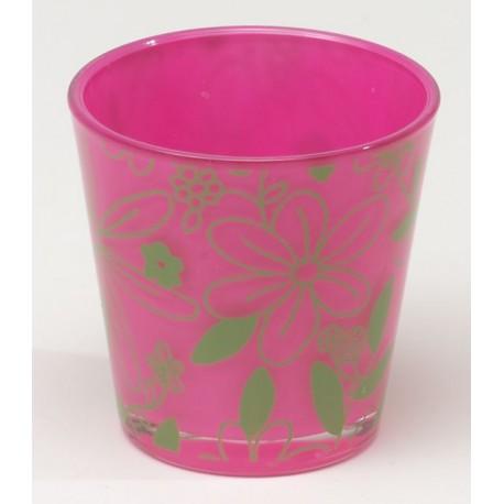 Stożkowa szklanka FLOWER d7,5 h7,5cm  różowy/zielony