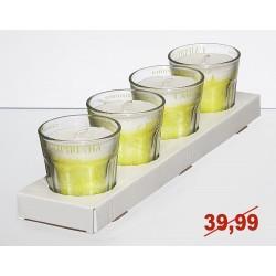 Zestaw 4 świec zapachowych w szkle. 8x7,5cm caipirinha