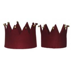 Filcowa korona z dzwonkami   d13/16cm  h11/12cm burgund