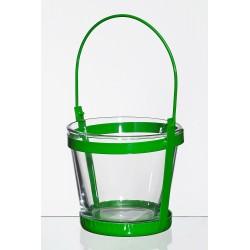 Met. świecznik ze szklaną wazą d10 h9cm zielony