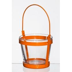 Met. świecznik ze szklaną wazą d10 h9cm pomarańczowy