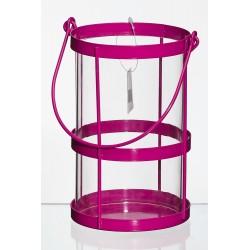 Lampion metalowy d11 h17 cm różowy